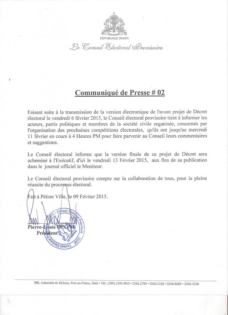 COMMUNIQUE DE PRESSE 9 FEVRIER 2015